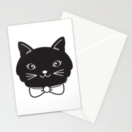 Dapper Black Kitty Cat Stationery Cards