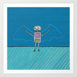 Robot with Invisible Wings Art Print