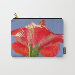 Side View of Scarlet Red Hibiscus In Bright Light Carry-All Pouch