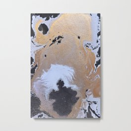 Abstract black and white painting with gold Metal Print