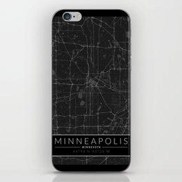 Minneapolis Map - Black and White (Dark) iPhone Skin