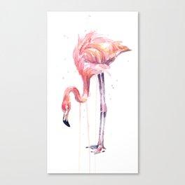 Flamingo Watercolor Painting Pink Tropical Birds Facing Left Canvas Print