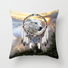 Wolf, Bear and Dream Catcher Throw Pillow