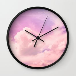Pink And Purple Fluffy Colorful Clouds Cotton Candy Texture Wall Clock