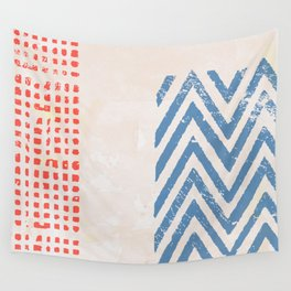 Zig Zag red blue Wall Tapestry