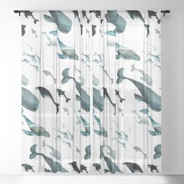 Fish tales: Whale pattern 1 Sheer Curtain