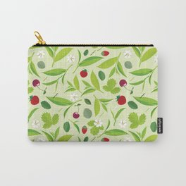 Green tea leaves pattern, lemon, cherry, flat illustration Carry-All Pouch