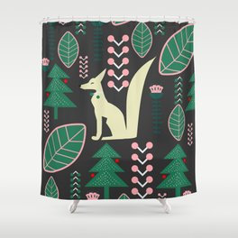 Traditional Christmas festival with fox Shower Curtain