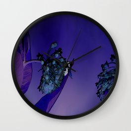 Blooming at Night (violet) Wall Clock