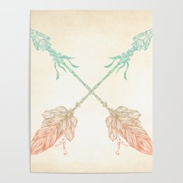 Tribal Arrows Turquoise Coral Gradient Poster