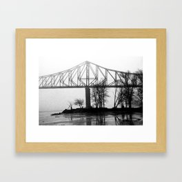 Foggy Morning Bridge Framed Art Print