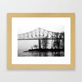 Foggy Morning Bridge Framed Art Print