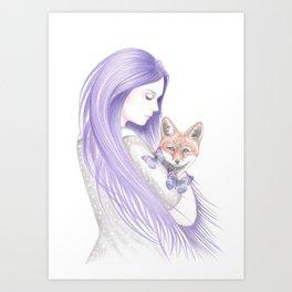 Dreamy Foxes Art Print