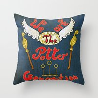 potter Throw Pillows featuring Potter Generation by green.lime