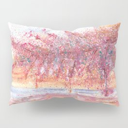 Pink Abstract Landscape Illustration Pillow Sham