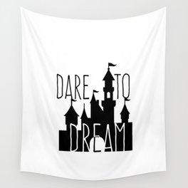 Dare to Dream Fantasy Castle Silhouette Wall Tapestry