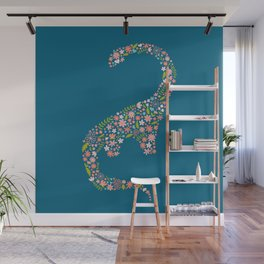 Floral Brontosaurus on Blue Wall Mural