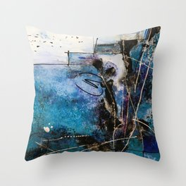 Midnight Sky, Acrylic artwork Throw Pillow