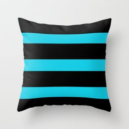 Hollywood Nights Black and Teal Stripes Throw Pillow