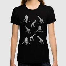 Strike a Pose (Giraffe) Black Womens Fitted Tee LARGE