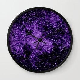 gaLaxy. Dark Purple Stars Wall Clock