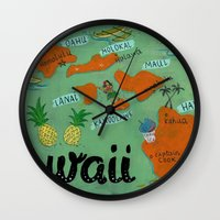 hawaii Wall Clocks featuring HAWAII by Christiane Engel