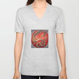 Dragon by Hokusai Unisex V-Neck