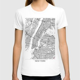 New York City Neutral Map Art Print T-shirt