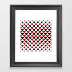 Black red heart pattern Framed Art Print