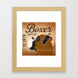 Boxer coffee company dog artwork by Stephen Fowler Framed Art Print