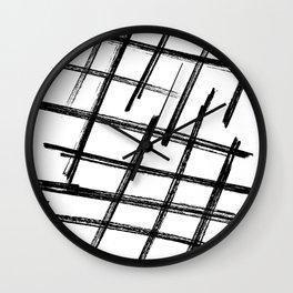 Criss Cross B+W Print Wall Clock