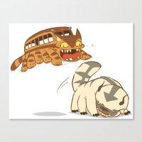 appa Canvas Prints featuring Catbus vs. Appa by Tami Wicinas