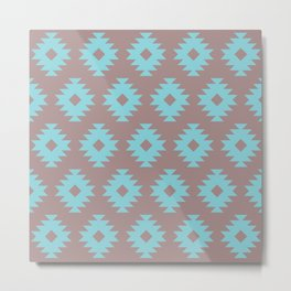 Southwestern Pattern 430 Turquoise and Gray Metal Print
