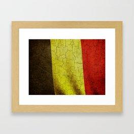Cracked Belgium flag Framed Art Print