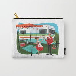 Happy Campers Vintage Travel Trailers, Caravans, Campers and Glamping Art Carry-All Pouch
