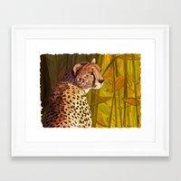 cheetah Framed Art Prints featuring Cheetah by Michelle Behar