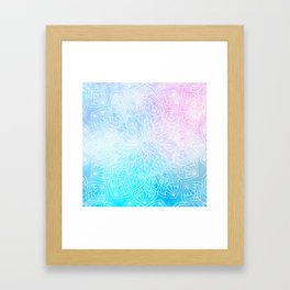 Watercolor White Mandala Illustration Pattern Framed Art Print