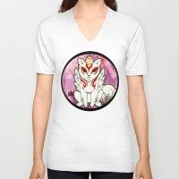 okami V-neck T-shirts featuring Amaterasu from Okami 02 by Jazmine Phillips