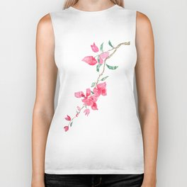 red  pink  bougainvillea watercolor Biker Tank
