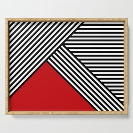 Black and white stripes with red triangle Serving Tray
