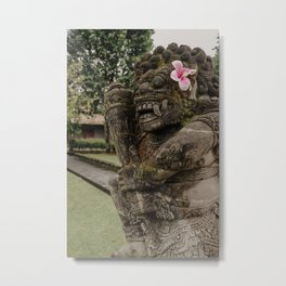 statue with flower in Bali Indonesia Metal Print