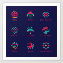 Ashtmangala - The Symbols of Good Fortune Art Print