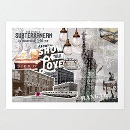 Vintage Industrial Collage Art Print