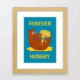 Hungry Bear Eating Honey Framed Art Print
