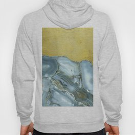 Marble Agate Slices Crystal Geode Abstract Boho Gold and Grey Hoody