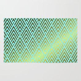 Gold foil triangles on aqua Rug
