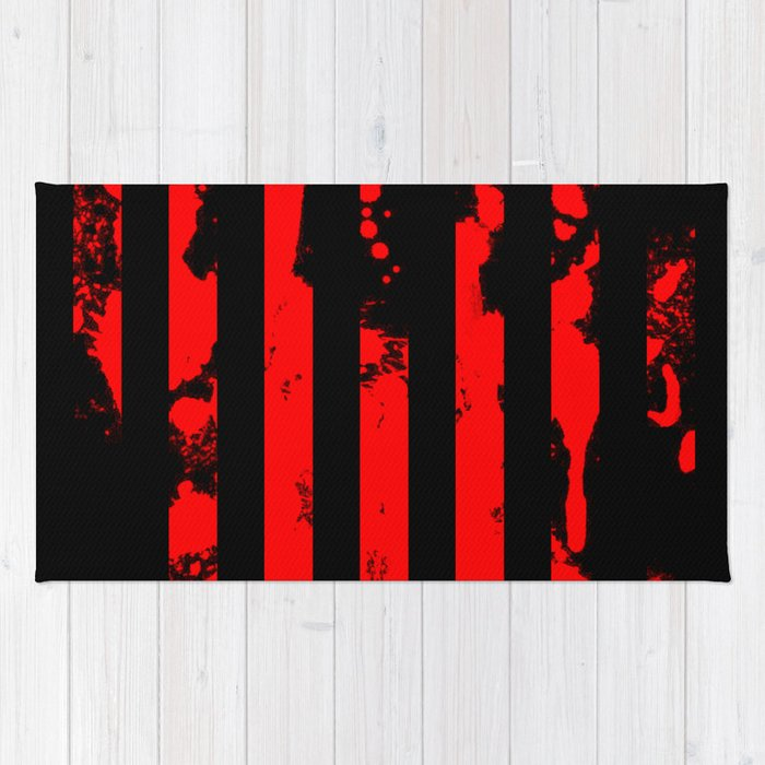 Blood Bars - Geometric, black and red stripes pattern, blood red, paint splat artwork Rug