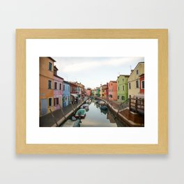 Streets of Burano, Italy Photography Framed Art Print