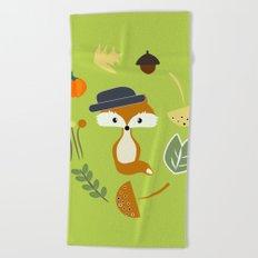 Cute fox in autumn II Beach Towel
