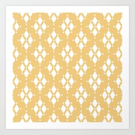 Rhombus diamond shapes boho tribal pattern sand beige Art Print
